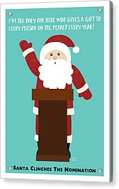 Santa Clinches The Nomination- Art By Linda Woods Acrylic Print by Linda Woods