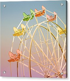 Santa Cruz Ferris Wheel Acrylic Print by Linda Woods