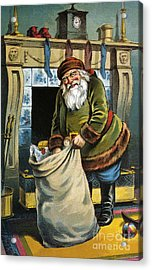 Santa Unpacks His Bag Of Toys On Christmas Eve Acrylic Print by William Roger Snow