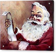 Santa With A List Acrylic Print by Sheila Kinsey