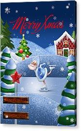 Santa's House - North Pole English Text  Acrylic Print by Maggie Terlecki