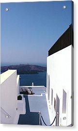 Santorini Blue Acrylic Print by Julie Palencia