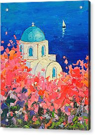Santorini Impression - Full Bloom In Santorini Greece Acrylic Print by Ana Maria Edulescu