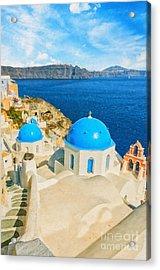 Santorini Oia Church Caldera View Digital Painting Acrylic Print by Antony McAulay