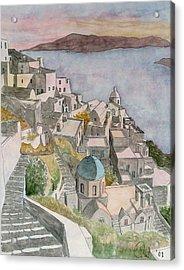 Santorini Acrylic Print by Rod Jones
