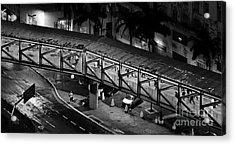 Sao Paulo - Metallic Footbridge At Night Acrylic Print by Carlos Alkmin