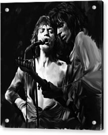 Stage Life  Mick Jagger Keith Richards Rolling Stones Acrylic Print by Iconic Images Art Gallery David Pucciarelli