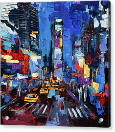 Saturday Night In Times Square Acrylic Print by Elise Palmigiani