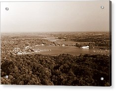 Saugatuck Michigan Harbor Aerial Photograph Acrylic Print by Michelle Calkins