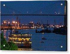 Savannah Harbor At Night Acrylic Print by Leslie Lovell