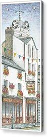 Savings Bank Clock Ulverston Cumbria Acrylic Print by Sandra Moore