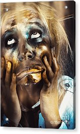 Scary Zombie Pulling Funny Face  Acrylic Print by Jorgo Photography - Wall Art Gallery