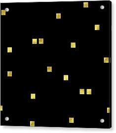 Scattered Gold Square Confetti Gold Glitter Confetti On Black Acrylic Print by Tina Lavoie