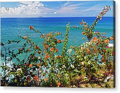 Scenic Coastal View With The Desecheo Island Acrylic Print by George Oze