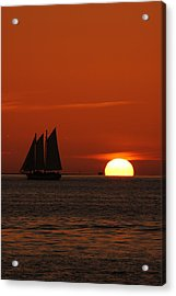 Schooner In Red Sunset Acrylic Print by Susanne Van Hulst