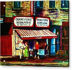Schwartzs Famous Smoked Meat Acrylic Print by Carole Spandau