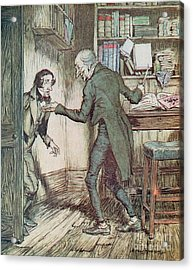 Scrooge And Bob Cratchit Acrylic Print by Arthur Rackham