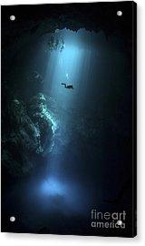 Scuba Diver Descends Into The Pit Acrylic Print by Karen Doody