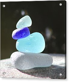 Sea Glass Cairn 3 Acrylic Print by Judy Bernier