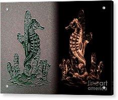 Sea Horses Symmetrical Art  Acrylic Print by Mario Perez