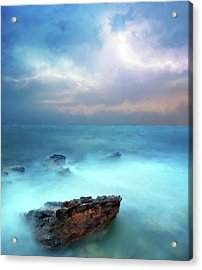 Sea Sky And Stone Acrylic Print by Michael Greenaway