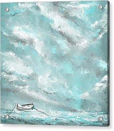 Sea Spirit - Lighter Version - Teal And Gray Art  Acrylic Print by Lourry Legarde