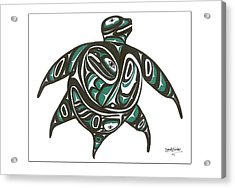 Sea Turtle Green Acrylic Print by Speakthunder Berry