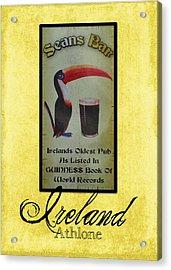 Seans Bar Guinness Pub Sign Athlone Ireland Acrylic Print by Teresa Mucha