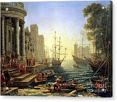 Seaport With The Embarkation Of Saint Ursula  Acrylic Print by Claude Lorrain