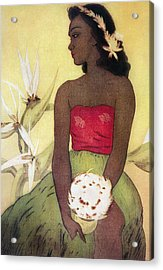 Seated Hula Dancer Acrylic Print by Hawaiian Legacy Archives - Printscapes
