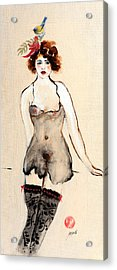 Seated Nude In Black Stockings With Flower And Bird Acrylic Print by Susan Adams