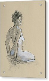 Seated Nude Acrylic Print by Robert Bissett