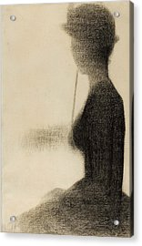 Seated Woman With A Parasol Study For La Grande Jatte Acrylic Print by Georges-Pierre Seurat