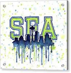 Seattle Watercolor 12th Man Art Painting Space Needle Go Seahawks Acrylic Print by Olga Shvartsur