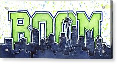 Seattle 12th Man Legion Of Boom Painting Acrylic Print by Olga Shvartsur