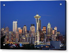 Seattle At Dusk Acrylic Print by Adam Romanowicz