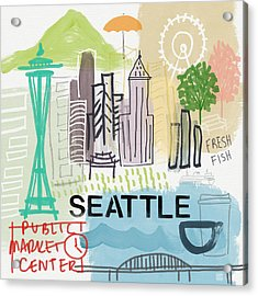 Seattle Cityscape- Art By Linda Woods Acrylic Print by Linda Woods