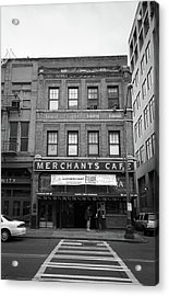 Seattle - Merchants Cafe Bw Acrylic Print by Frank Romeo