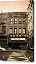 Seattle - Merchants Cafe Sepia Acrylic Print by Frank Romeo