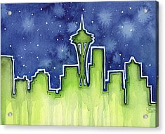 Seattle Night Sky Watercolor Acrylic Print by Olga Shvartsur