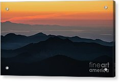 Seattle Puget Sound And The Olympics Sunset Layers Landscape Acrylic Print by Mike Reid