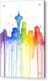 Seattle Rainbow Watercolor Acrylic Print by Olga Shvartsur