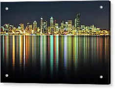 Seattle Skyline At Night Acrylic Print by Hai Huu Thanh Nguyen