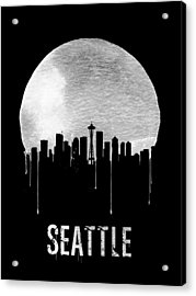 Seattle Skyline Black Acrylic Print by Naxart Studio