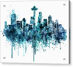 Seattle Skyline Monochrome Watercolor Acrylic Print by Marian Voicu
