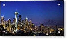 Seattle Skyline Acrylic Print by Sebastian Schlueter (sibbiblue)