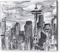 Seattle Skyline Space Needle Acrylic Print by Olga Shvartsur