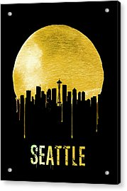 Seattle Skyline Yellow Acrylic Print by Naxart Studio