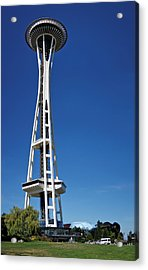 Seattle Space Needle Acrylic Print by Adam Romanowicz