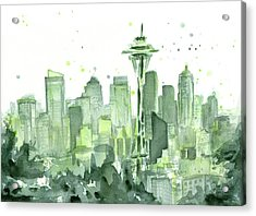 Seattle Watercolor Acrylic Print by Olga Shvartsur